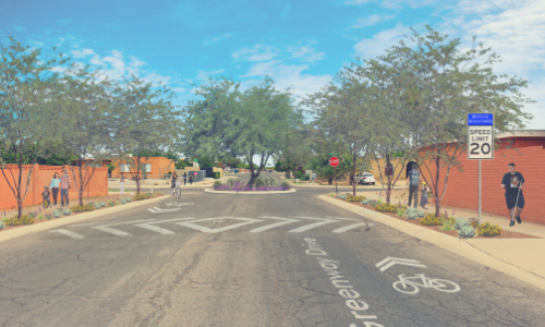 Rendering of future bicycle boulevard on Greenway Drive. Treatments include speed bumps, 20 mph signs, shade trees, traffic circle