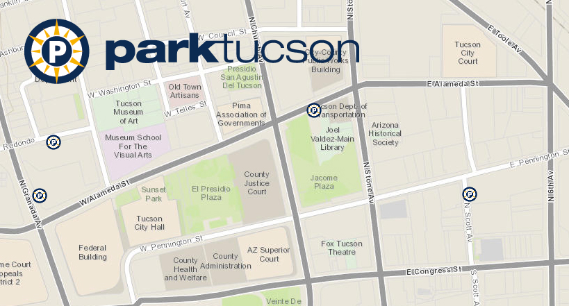 Interactive Map Of Arizona.Interactive Map Of Park Tucson Parking Garages And Lots Now On Line
