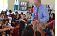 After reading to an assembly at Carrillo K-5 Magnet School.