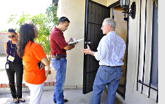 Knocking on students' doors with TUSD Superintendent Dr. H.T. Sanchez, PCC  Community Campus President Dr. Lorraine Morales and my aide, Karla Avalos.