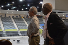 Surveying the renovated Convention Center