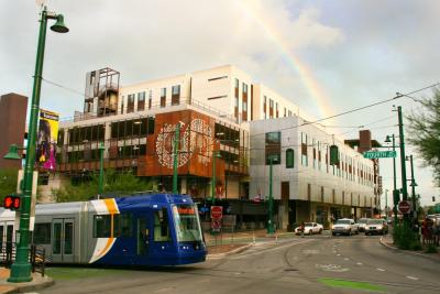 Centro Garage with streetcar and rainbow