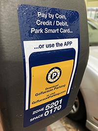 parking meter detail with zone info
