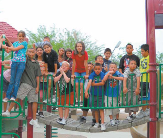 group shot of kids in playground area