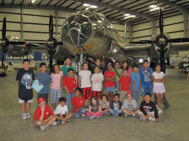 group of kids at Pima Air Museum