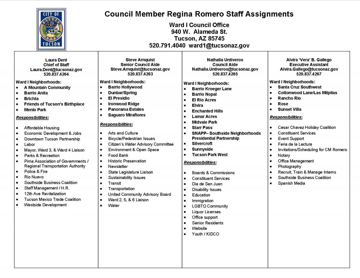 Ward 1 councilor regina romero official website of the city of the printable staff assignments document aiddatafo Image collections