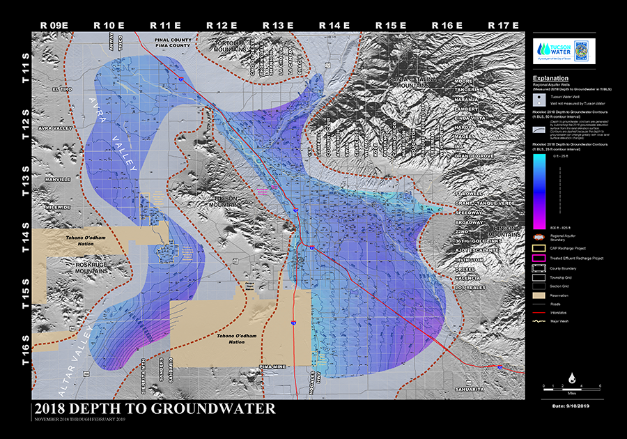 Depth to Groundwater Map from Tucson Water; updated Sept 2019.