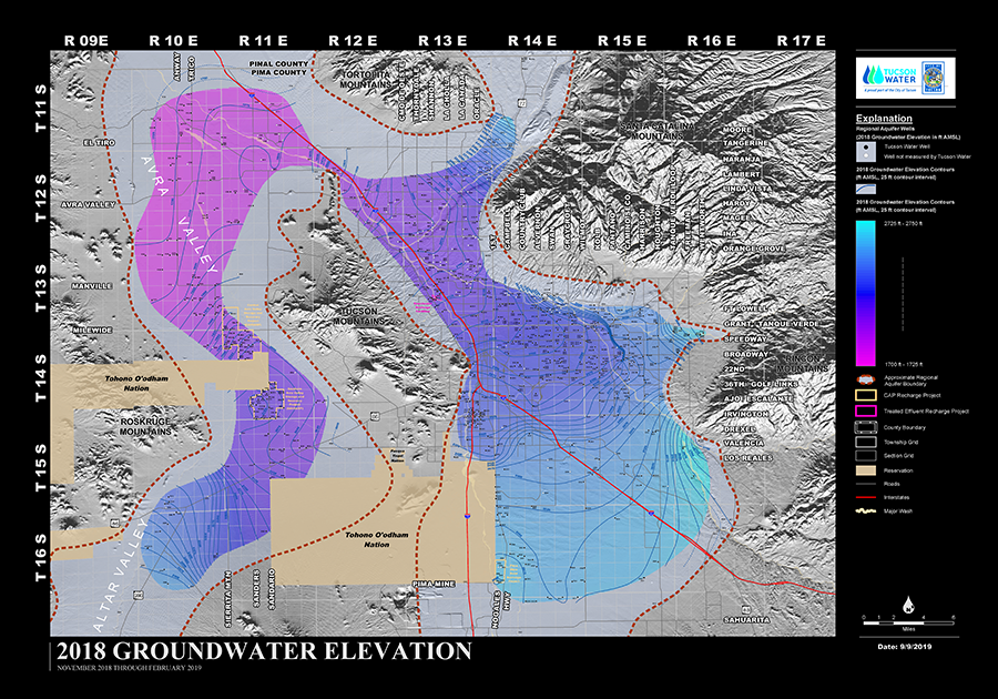 Groundwater Elevation Map from Tucson Water; updated Sept 2019.