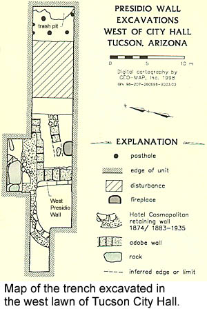 Map of the trench excavated in the west lawn of Tucson City Hall.